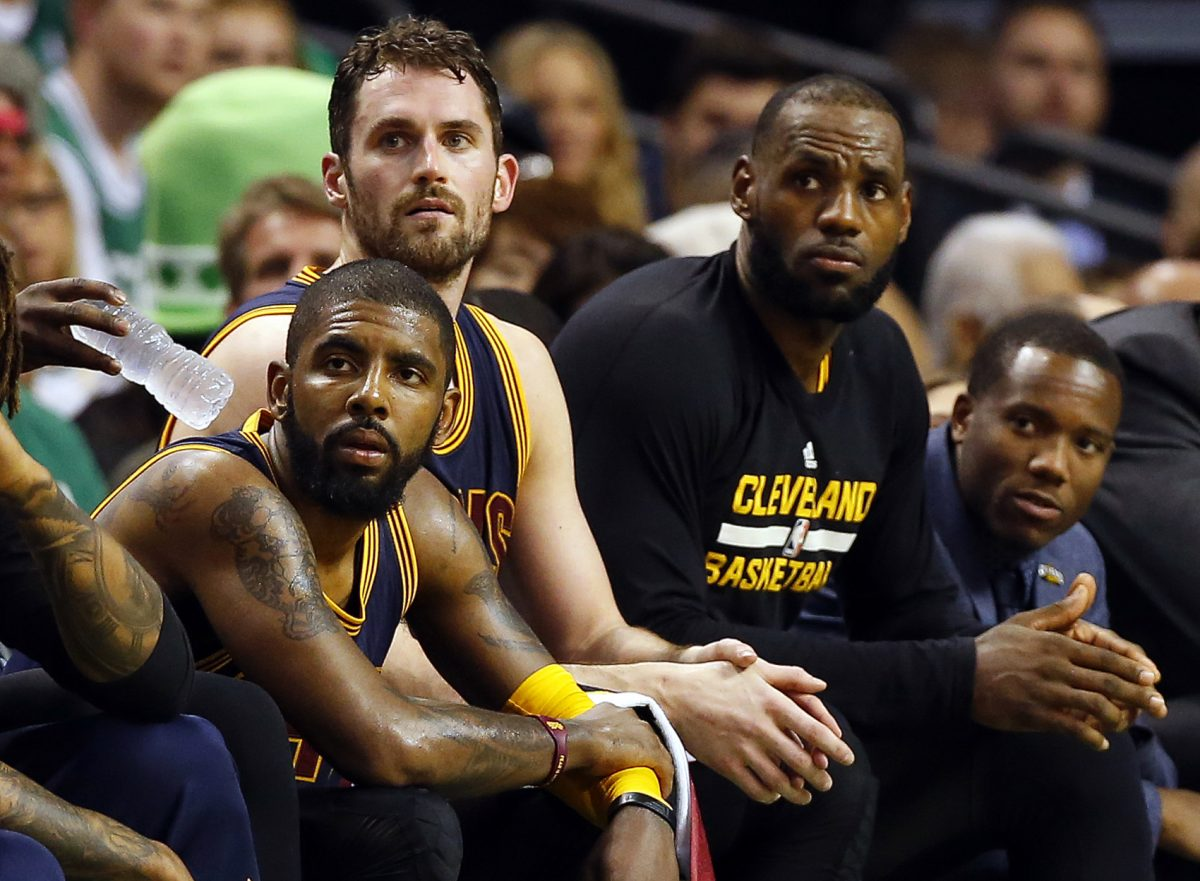 Kyrie Irving, Kevin Love and LeBron James