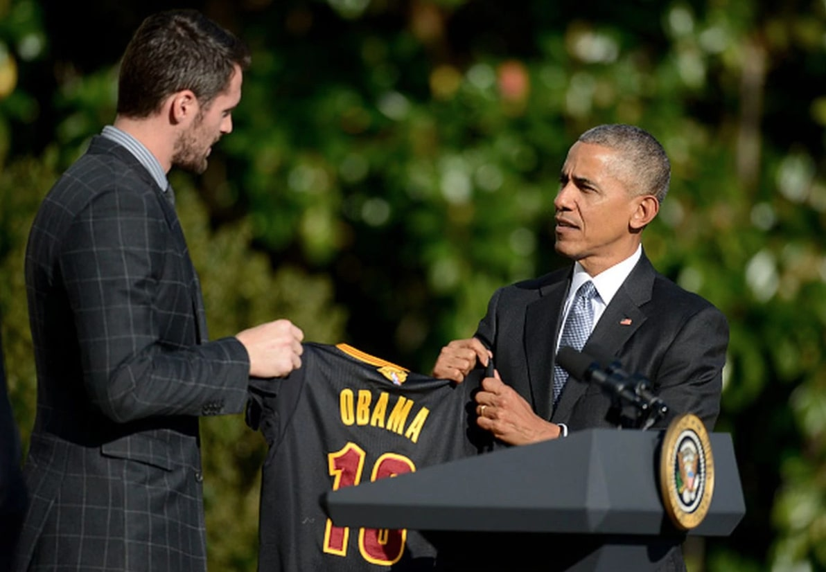 Kevin Love and Barack Obama