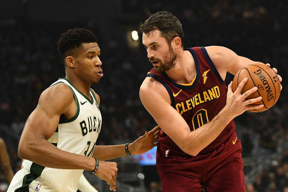 Kevin Love and Giannis Antetokounmpo