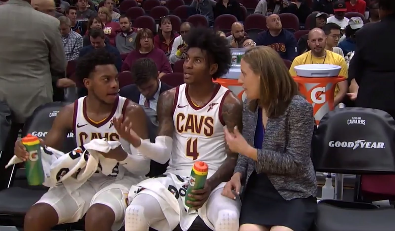 Lindsay Gottlieb, Darius Garland and Kevin Porter Jr.