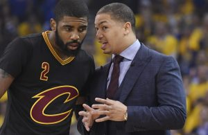 Kyrie Irving and Tyronn Lue