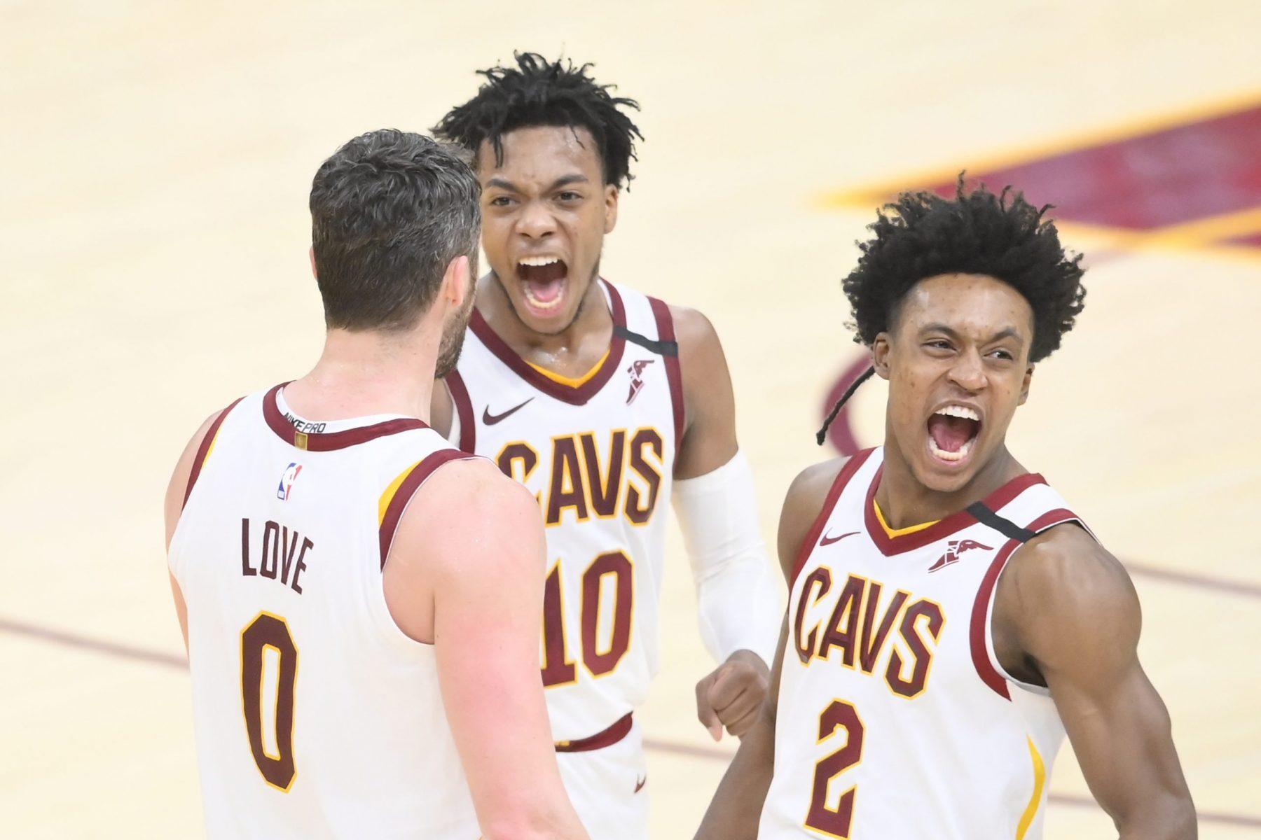 Collin Sexton, Darius Garland and Kevin Love
