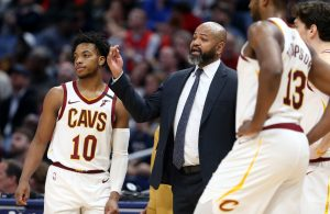 J.B. Bickerstaff, Darius Garland and Tristan Thompson