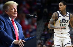 President Donald Trump and Jordan Clarkson