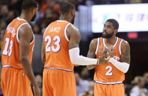 Kyrie Irving, LeBron James and Tristan Thompson