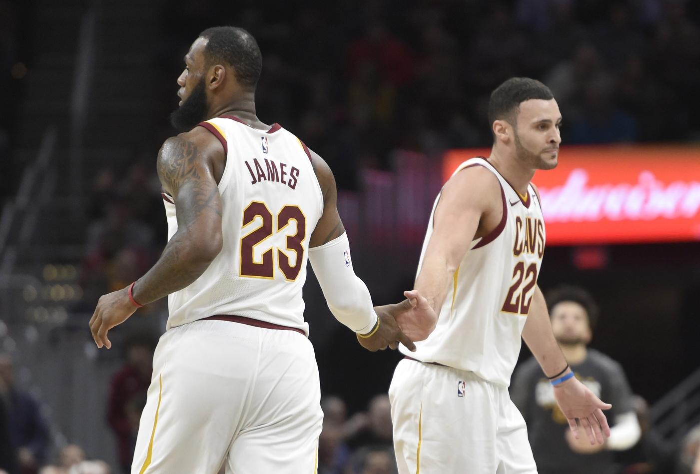 LeBron James and Larry Nance Jr.
