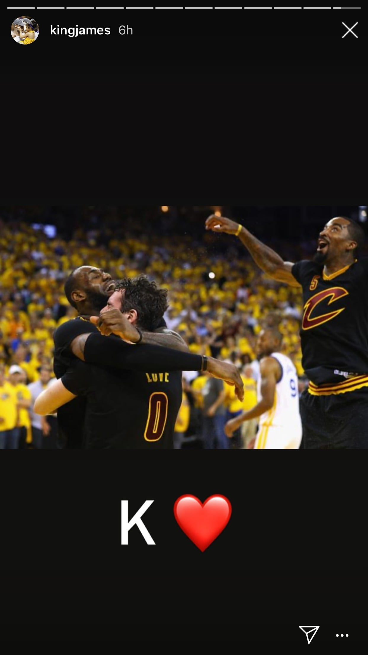 LeBron James, Kevin Love and J.R. Smith
