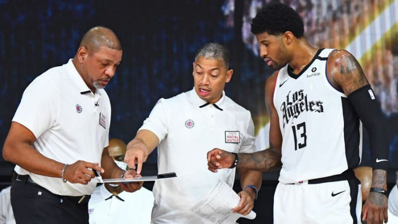Doc Rivers, Tyronn Lue and Paul George