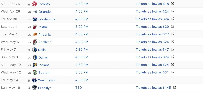 Cavs 2020-21 regular season schedule