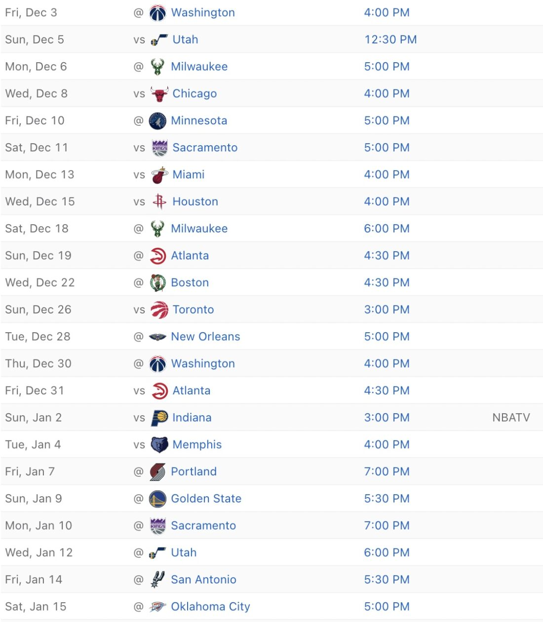 2021-22 Cavs schedule