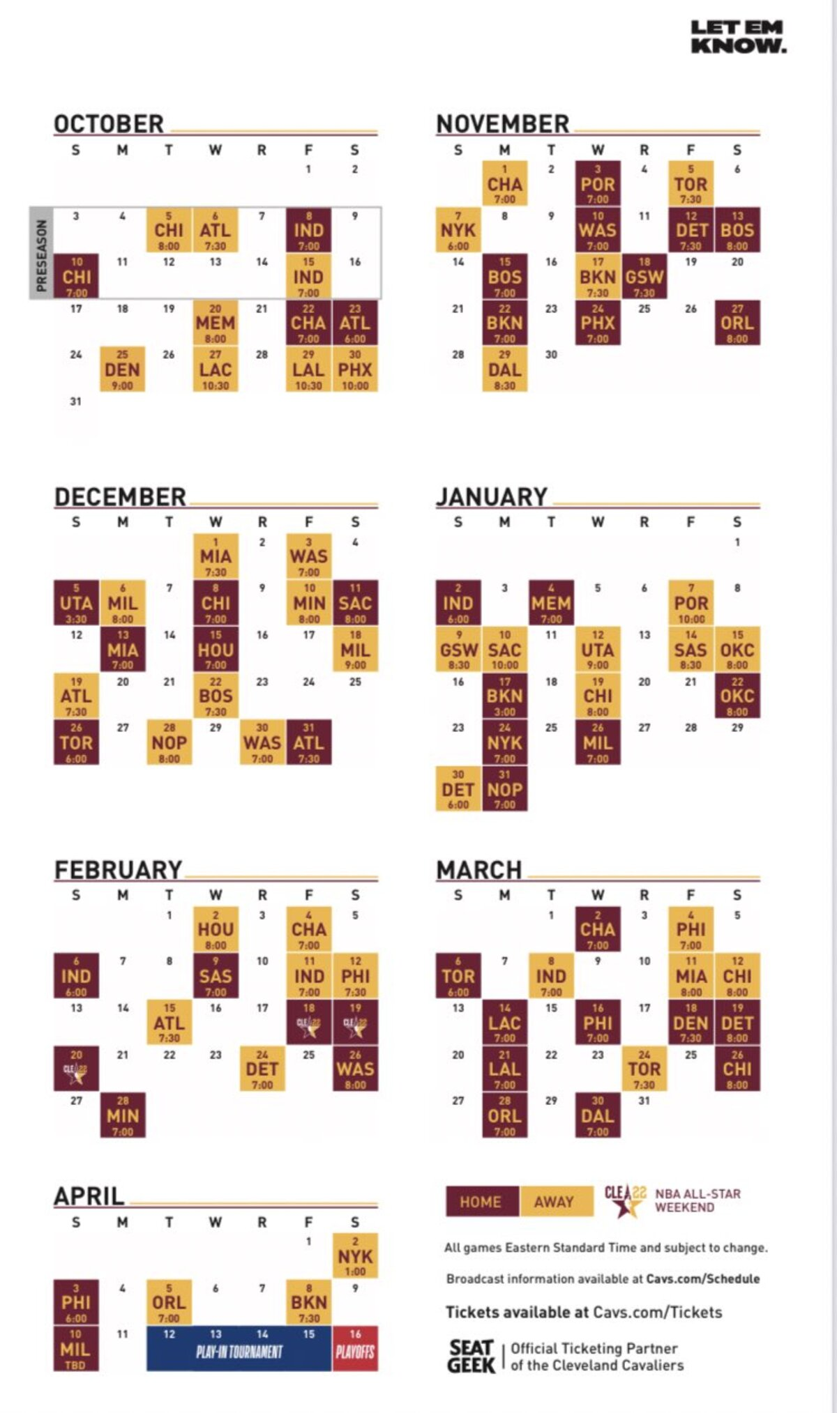 Report: Cavs release full schedule for 2021-22 season - Cavaliers Nation